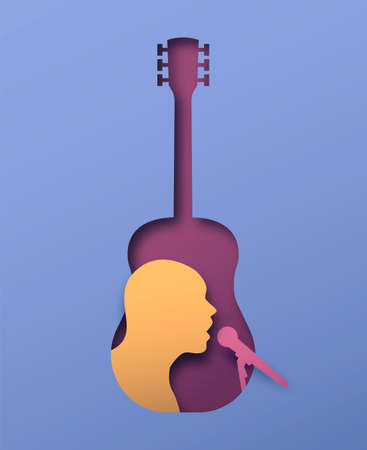 Man singing with microphone inside acoustic guitar instrument in 3d papercut style. Musician event, live show or concert performance paper cut concept.