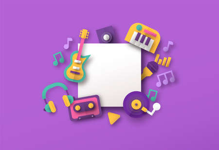 Papercut music icons with empty white background frame template. Retro paper craft style musical decoration includes guitar, piano instrument, headphone and more.