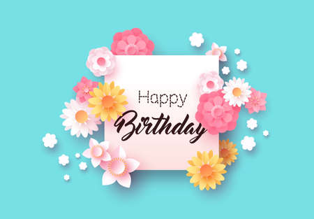 Happy birthday card, pink floral template with empty white frame. Woman birth day celebration background, beautiful paper cut flowers for party or anniversary congratulation. Illustration