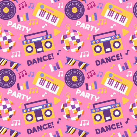 Party music seamless pattern with cartoon piano, disco ball, dj vinyl and more electronic equipment icons. Fun dance celebration background design.
