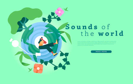 Sounds of the world web template illustration, diverse international music culture concept for online landing page background. Woman listening to headphones with green nature decoration. Illustration