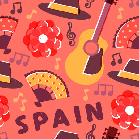 Spanish culture seamless pattern illustration. Spain travel background design with guitar, flamenco music, rose flower, and more. 矢量图像