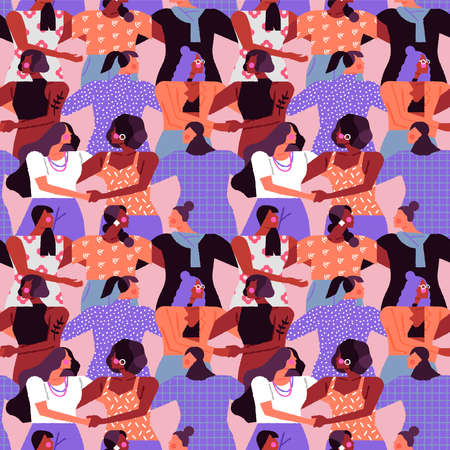 Women seamless pattern design. Diverse woman crowd holding hands, hugging together for friendship and solidarity. Feminist rights campaign background.