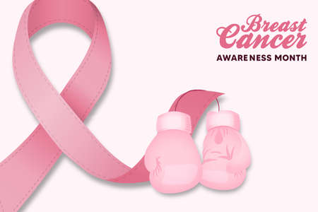 Breast Cancer awareness month greeting card illustration. Pink silk ribbon with boxing gloves for disease survivor and women fight concept. Vector Illustration
