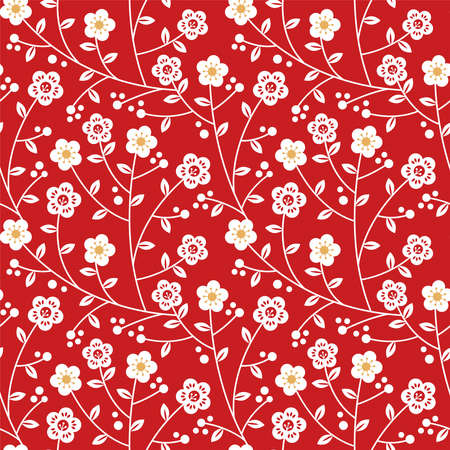Chinese plum blossom flower seamless pattern illustration. Red and gold floral branch nature decoration background for traditional asia culture event or holiday design. Ilustração