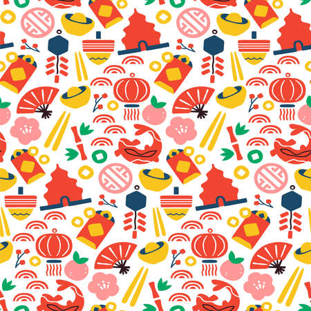 Chinese culture icon seamless pattern. Colorful flat cartoon symbol background includes fan, paper lantern, gold coin and plum flower. Asian style design for special event or celebration.