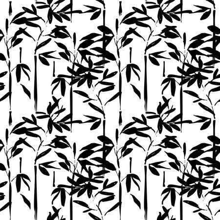 Asian bamboo tree leaf seamless pattern. Traditional hand drawn chinese art background in black and white.