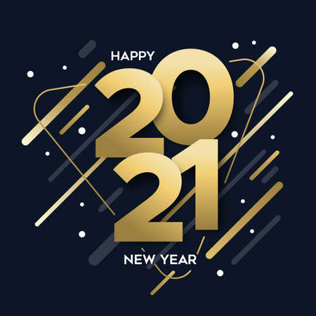Happy New Year 2021 gold luxury greeting card illustration. Calendar date number sign with modern abstract shapes design, trendy golden party invitation or greetings template.