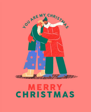 Merry Christmas greeting card illustration of man and woman couple in love walking together. Modern flat cartoon character design for special holiday event.