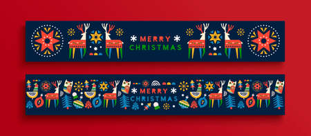 Merry Christmas folk art web banner set. Colorful nordic style winter animals and holiday decoration, geometric shape cartoon includes deer, owl, bauble.
