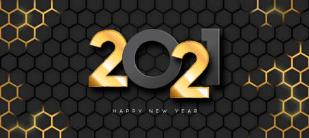 Happy New Year 2021 greeting card illustration. Realistic 3d gold number date sign on futuristic honeycomb light surface background. Luxury party invitation design for special holiday event.