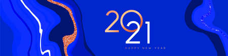 Happy New Year 2021 web banner illustration, luxury blue marble stone background with elegant copper number date sign. VIP party invitation, fancy celebration event design.