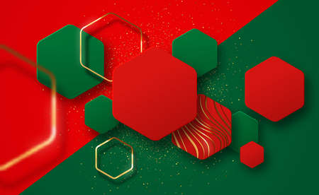 Christmas background illustration, abstract 3d geometric hexagon shapes with gold glitter, copy space and golden frames on festive color backdrop. VIP holiday celebration design, xmas season concept. Ilustracja