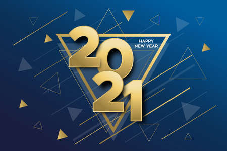 Happy New Year 2021 gold luxury greeting card banner illustration. Calendar date number sign with golden triangle geometric shapes. Ilustracja