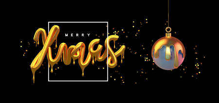 Merry Christmas greeting card, realistic 3d gold drip typography sign with luxury golden glitter on festive  background. Melted glossy metallic type for party invitation or celebration event