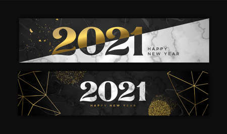 Happy New Year 2021 luxury web banner set. Black marble texture collection with elegant gold decoration. VIP party invitation, fancy number date design for exclusive celebration event.