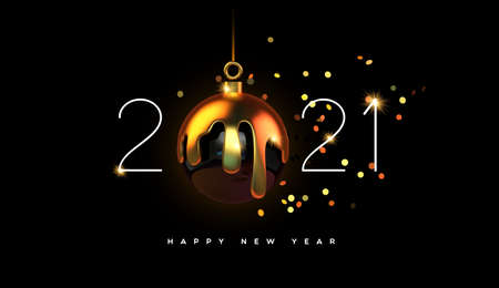 Happy New Year 2021 greeting card of luxury black bauble ball ornament in realistic 3d style with melted gold making calendar number date. Elegant celebration invitation or holiday greetings design.