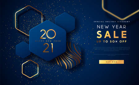 New Year 2021 sale discount web template illustration, luxury 3d geometric shape background with gold abstract shapes on blue backdrop for holiday business promotion. Vettoriali
