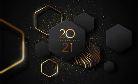 Happy New Year 2021 modern luxury greeting card illustration. Futuristic 3D geometric shape design with gold glitter and golden abstract shapes for VIP party event.