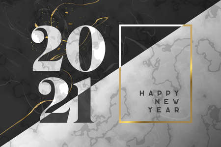 Happy New Year 2021 luxury greeting card illustration. Black and white marble texture with gold frame. Elegant party invitation, number date sign in marbled smooth stone material. Ilustracja