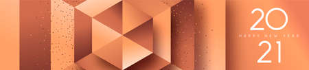Happy New Year 2021 luxury copper web banner illustration. 3D geometric shape background with bronze glitter dust for VIP party or fancy celebration event.