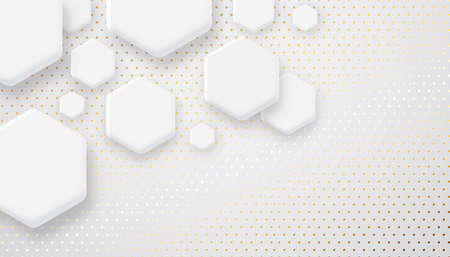 Abstract futuristic white background illustration with hexagon geometric shapes and gold luxury texture. Clean minimalist modern design, copy space backdrop.