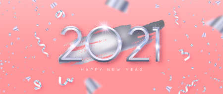 Happy New Year 2021 web banner illustration. Realistic 3d silver number date sign on pastel pink background with party confetti falling. Trendy fashion holiday invitation design for special event.
