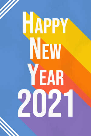 Happy New Year 2021 colorful greeting card illustration. Holiday typography quote sign with flat rainbow color lettering design. Ilustracja