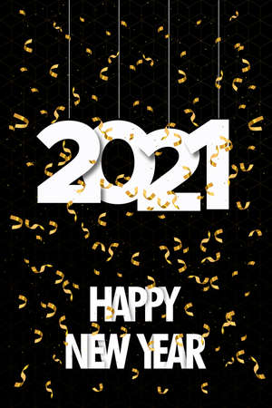 Happy New Year 2021 greeting card illustration with calendar number date sign and luxury gold party confetti explosion for elegant holiday event.