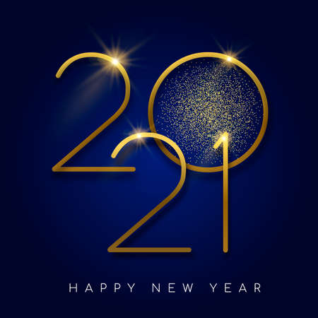 Happy New Year 2021 gold luxury greeting card design. Modern golden calendar date number sign on blue background.