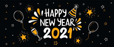 Happy New Year 2021 party web banner. Hand drawn celebration cartoon doodle for holiday event. Includes gold star, balloon, champagne drink.