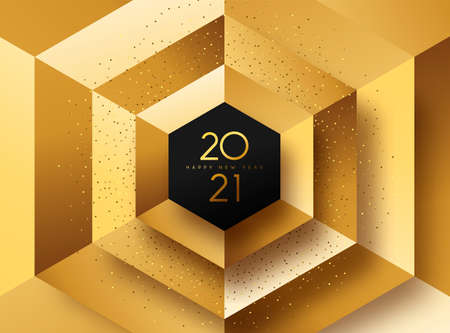 Happy New Year 2021 luxury gold greeting card illustration. 3D geometric shape background with golden glitter dust for VIP party or fancy celebration event. Ilustracja