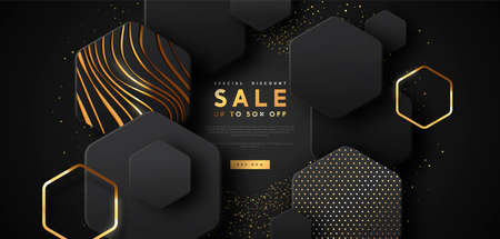Special sale discount web template illustration, luxury 3d geometric shape background with gold abstract shapes. Modern technology business promotion, fashion offer or black friday clearance event.