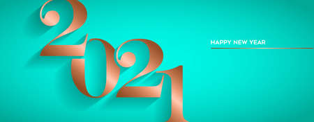 Happy New Year holiday greeting card. Luxury copper calendar number design for party invitation or 2021 years eve event. Ilustracja