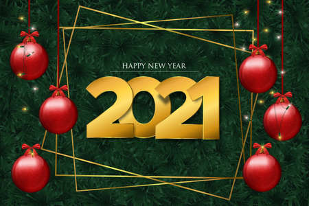 Happy New Year 2021 greeting card with realistic 3d pine tree branches and christmas lights. Winter holiday nature background for years eve party invitation or season greetings.