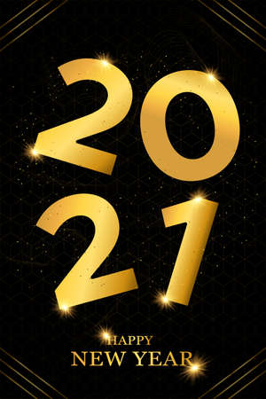 Happy New Year 2021 luxury greeting card illustration. Gold number date sign, golden glitter and abstract geometric black background design for VIP party event.