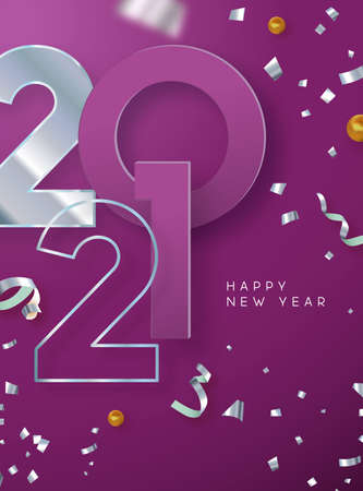 Happy New Year 2021 luxury greeting card illustration. Silver 3d calendar number date on festive green background with party confetti falling. Special holiday eve event invitation design. Ilustracja