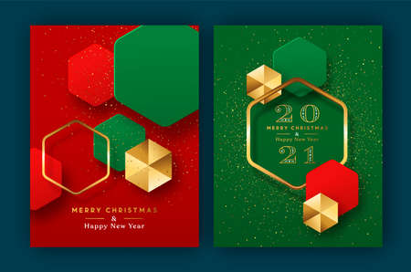 Merry Christmas Happy New Year 2021 modern luxury greeting card set. Red green 3D geometric shape illustration collection with gold glitter and golden abstract shapes for holiday party celebration.
