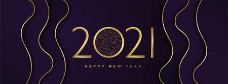 Happy New Year 2021 web banner illustration for holiday eve celebration. Abstract papercut gold waves with luxury golden calendar number sign.
