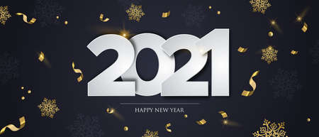 Happy New Year 2021 web banner illustration, luxury winter party concept with gold confetti and snowflakes falling on black background. Elegant festive holiday event design.