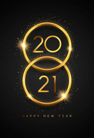Happy New Year 2021 vertical greeting card illustration. Gold 3d ring frame with party glitter and calendar number date on black background. Luxury VIP celebration event design concept. Ilustracja