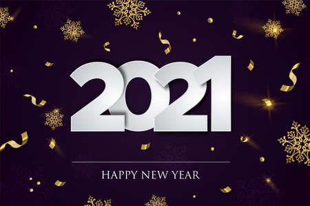 Happy New Year 2021 greeting card illustration, luxury winter party concept with gold confetti and snowflakes falling. Elegant festive holiday event design. Ilustracja