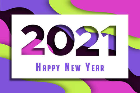 Happy New Year 2021 greeting card illustration with colorful 3d papercut waves and abstract paper craft shapes. Holiday event design in trendy cutout style.