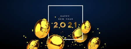 Happy New Year 2021 web banner of realistic 3d gold foil balloon on elegant blue background with party confetti. Dynamic balloons decoration floating design for holiday invitation or season event.