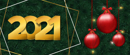 Happy New Year 2021 web banner with realistic 3d pine tree branches and christmas ornament. Winter holiday nature background for years eve party invitation or season greetings. Ilustracja