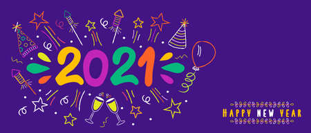 Happy New Year 2021 web banner illustration. Colorful party doodle decoration, fun hand drawn cartoon icons. Includes firework explosion, balloon, cocktail drink.