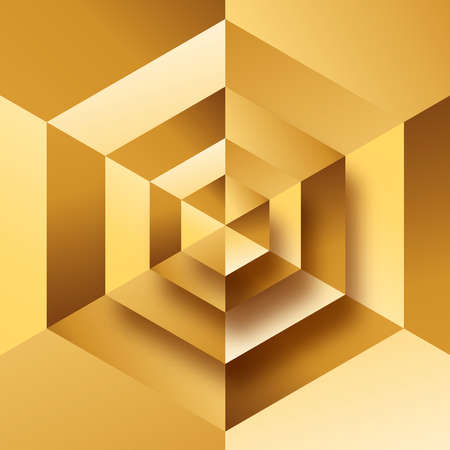 Abstract gold background illustration, luxury geometric shape design. Elegant 3D low poly golden backdrop concept. Ilustracja