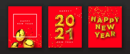Happy New Year 2021 greeting card set of realistic 3d gold foil balloon on festive red background with party confetti.  balloons typography sign for holiday invitation or season event. Ilustracja