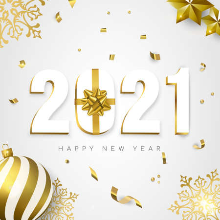 Happy New Year greeting card, 3d 2021 number sign with gold gift box ribbon. Confetti, bauble ornaments and snowflakes on white background.