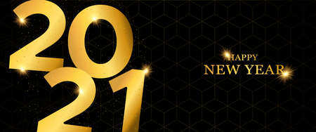Happy New Year 2021 gold luxury web banner design. Modern golden calendar date number sign on black geometric background with glitter dust.